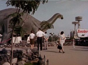 he Sinclair Dinosaurs were first featured in the 1064 World's FAir. They are now preserved in Texas.​